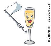 with flag champagne mascot... | Shutterstock .eps vector #1128876305