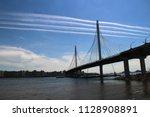 large modern bridge across the... | Shutterstock . vector #1128908891