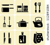 kitchen utensil icons | Shutterstock .eps vector #112891084