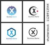 letter x logo set design | Shutterstock .eps vector #1128913544