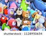 big stack handmade toys | Shutterstock . vector #1128950654