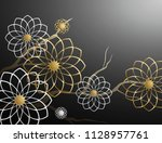 3d branches of white and golden ... | Shutterstock . vector #1128957761