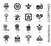 set of 16 icons such as pyramid ... | Shutterstock .eps vector #1128974465