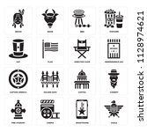 set of 16 icons such as eagle ... | Shutterstock .eps vector #1128974621