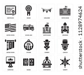 set of 16 icons such as sheriff ...