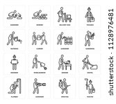 set of 16 icons such as painter ...
