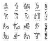 set of 16 icons such as carrier ...