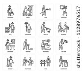 set of 16 icons such as... | Shutterstock .eps vector #1128976517