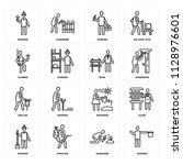 set of 16 icons such as worker  ... | Shutterstock .eps vector #1128976601