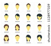set of 16 icons such as woman...