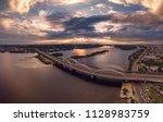 automobile and railroad bridge...   Shutterstock . vector #1128983759
