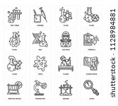 set of 16 icons such as loupe ... | Shutterstock .eps vector #1128984881