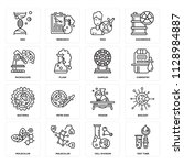 set of 16 icons such as test... | Shutterstock .eps vector #1128984887
