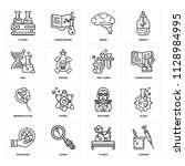 set of 16 icons such as syringe ... | Shutterstock .eps vector #1128984995