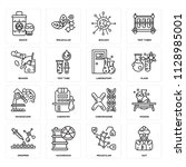 set of 16 icons such as suit ...