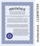 blue vintage invitation. money... | Shutterstock .eps vector #1128987059