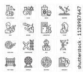 set of 16 icons such as... | Shutterstock .eps vector #1128987647