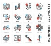 set of 16 icons such as damper  ...
