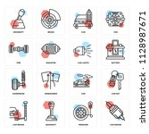 set of 16 icons such as car...   Shutterstock .eps vector #1128987671
