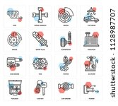 set of 16 icons such as power ... | Shutterstock .eps vector #1128987707