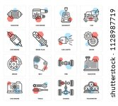 set of 16 icons such as... | Shutterstock .eps vector #1128987719
