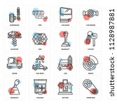 set of 16 icons such as timing...   Shutterstock .eps vector #1128987881