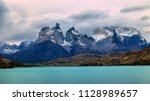 towers of paine and lake peho . ... | Shutterstock . vector #1128989657