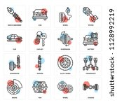set of 16 icons such as chassis ... | Shutterstock .eps vector #1128992219