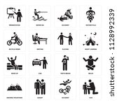 set of 16 icons such as hug ...