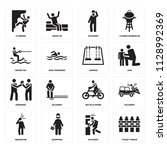 set of 16 icons such as picket...