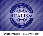 realism emblem with denim high... | Shutterstock .eps vector #1128993584