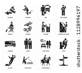 set of 16 icons such as  horse...
