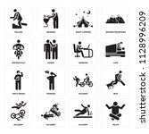 set of 16 icons such as relax ...