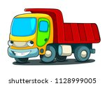 happy truck isolated on white... | Shutterstock .eps vector #1128999005