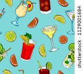 alcoholic drinks pattern.... | Shutterstock .eps vector #1129001684