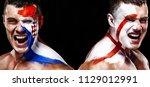 soccer or football fan athlete... | Shutterstock . vector #1129012991