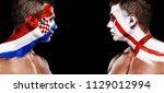 soccer or football fan athlete... | Shutterstock . vector #1129012994