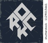 rock lettering print for card ...   Shutterstock . vector #1129015661