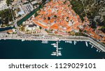 aerial top view of old town... | Shutterstock . vector #1129029101