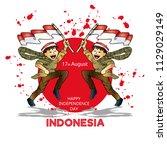17 august. indonesia... | Shutterstock .eps vector #1129029149