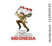 17 august. indonesia... | Shutterstock .eps vector #1129029155