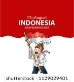 17 august. indonesia... | Shutterstock .eps vector #1129029401