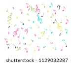 falling music notes chaos... | Shutterstock .eps vector #1129032287