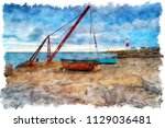 mwatercolour painting of... | Shutterstock . vector #1129036481