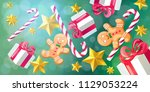 christmas and new year 2019... | Shutterstock .eps vector #1129053224