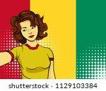 asian woman taking selfie photo ... | Shutterstock . vector #1129103384