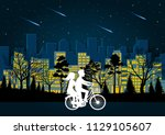 men and women cycle on the road ... | Shutterstock .eps vector #1129105607