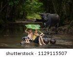 the freshness of the children... | Shutterstock . vector #1129115507
