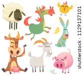 a large set of animals and... | Shutterstock .eps vector #1129137101