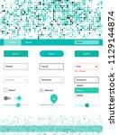 light green vector ui kit with... | Shutterstock .eps vector #1129144874